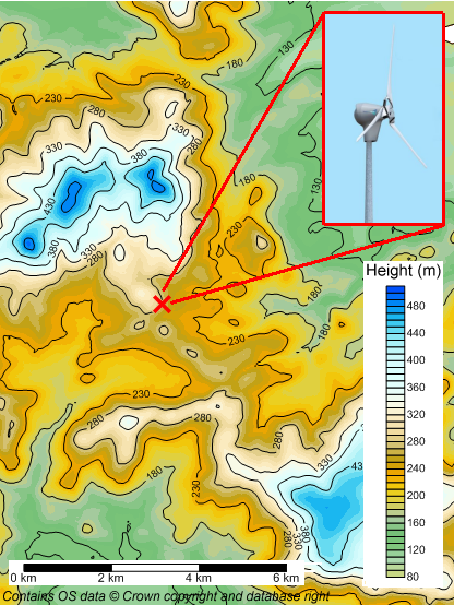 Brockhills Farm turbine location map